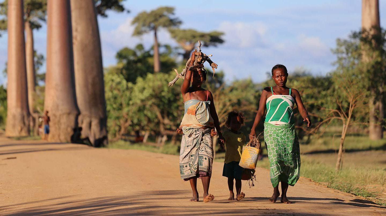 family walking pathway in Kenya